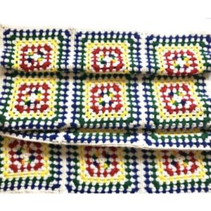 Vintage Granny Square Afghan Throw Blanket Crochet